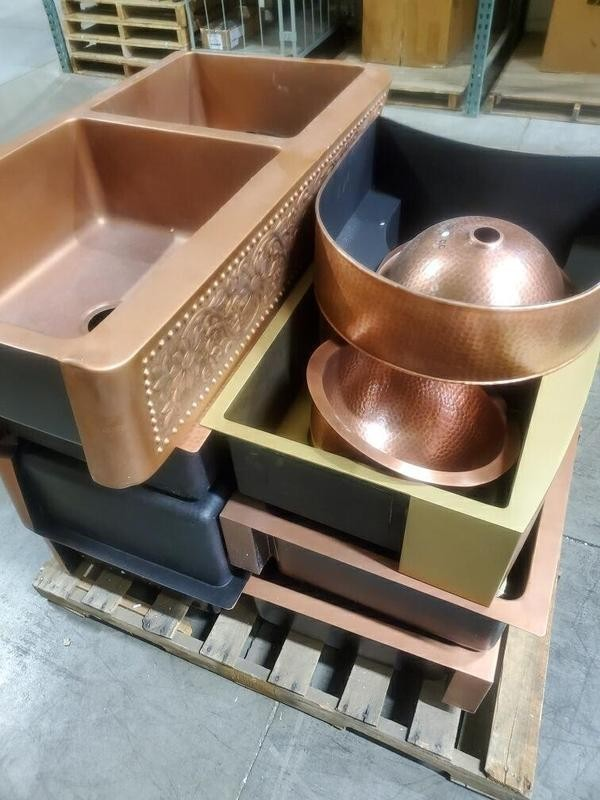 5 Pallets from Signature Hardware of Unmanifested Copper & Stainless Steel Sinks, Est. Retail $31,235, Erlanger, KY