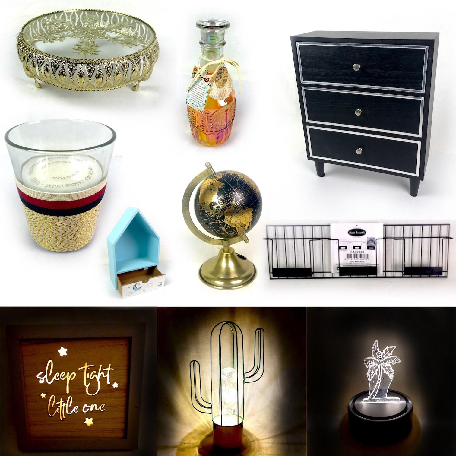 Metal Trays, Globes, Vintage Mirrors, LED Lamps, Candles & More Est. Original Retail €6,968, Vilnius, LT