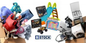 boxes of liquidated clothes appliances toys