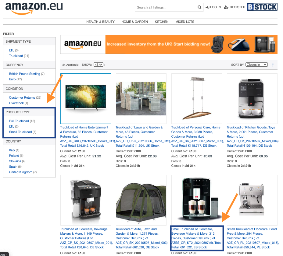 amazon eu small truckload offering