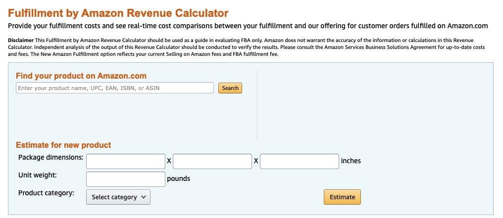 Fulfillment by Amazon Revenue Calculator