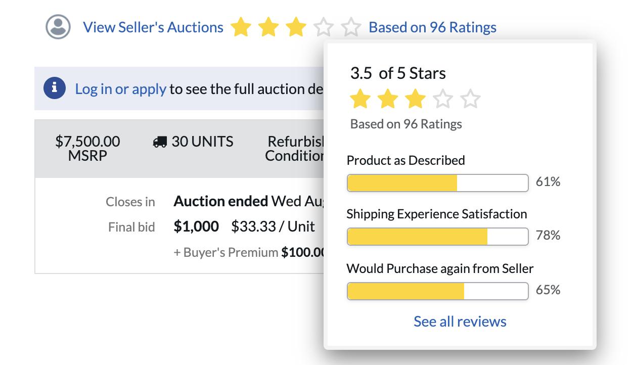 seller ratings on B-Stock Supply