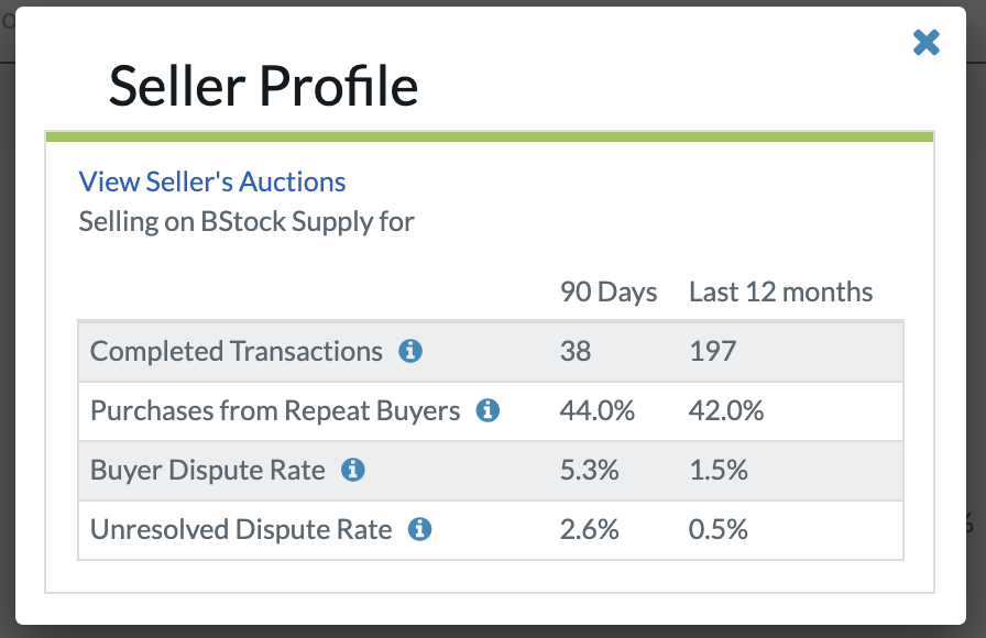 Seller profile on Supply
